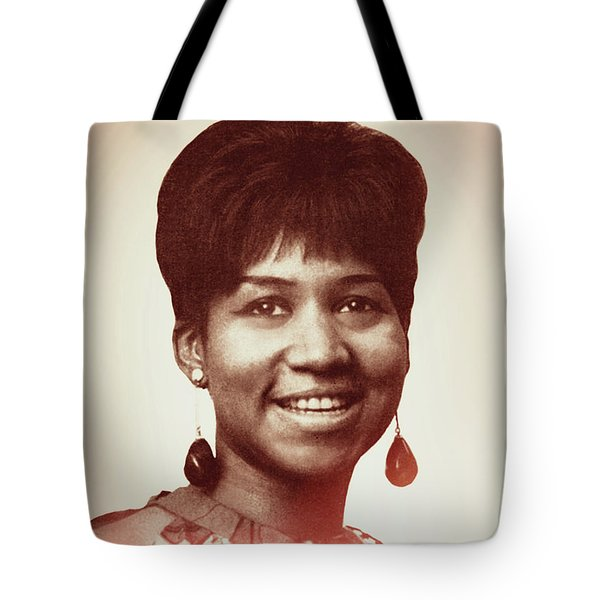 Tote Bag featuring the digital art Aretha Franklin I Say A Little Prayer by Anthony Murphy