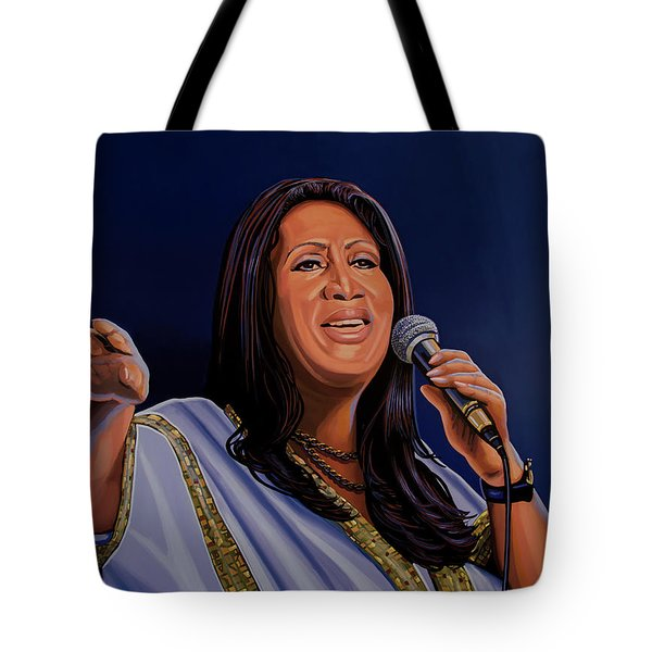 Aretha Franklin Painting Tote Bag