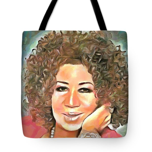 Aretha Franklin Tote Bag by Wayne Pascall