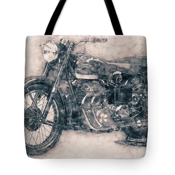 Ariel Square Four - 1931 - Vintage Motorcycle Poster - Automotive Art Tote Bag
