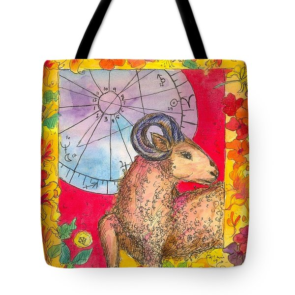 Tote Bag featuring the painting Aries by Cathie Richardson