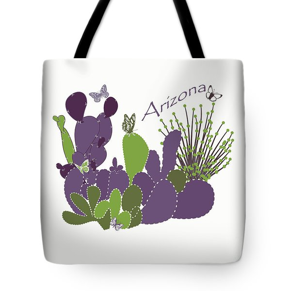 Tote Bag featuring the digital art Arizona Cacti by Methune Hively