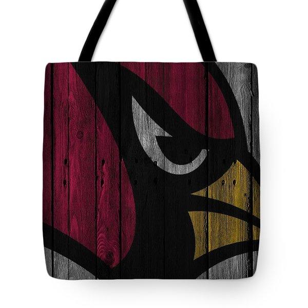 Arizona Cardinals Wood Fence Tote Bag by Joe Hamilton
