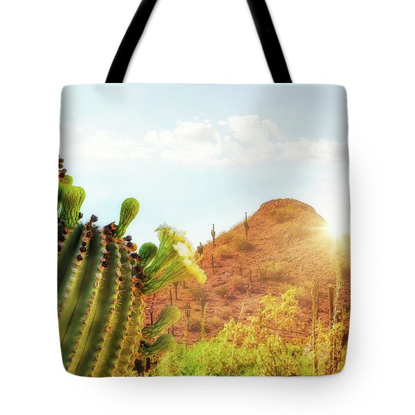 Arizona Desert Scene With Mountain And Cactus Tote Bag