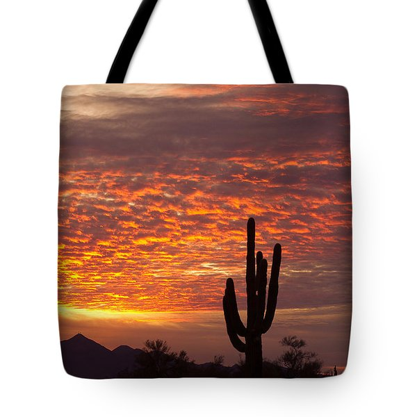 Arizona November Sunrise With Saguaro   Tote Bag