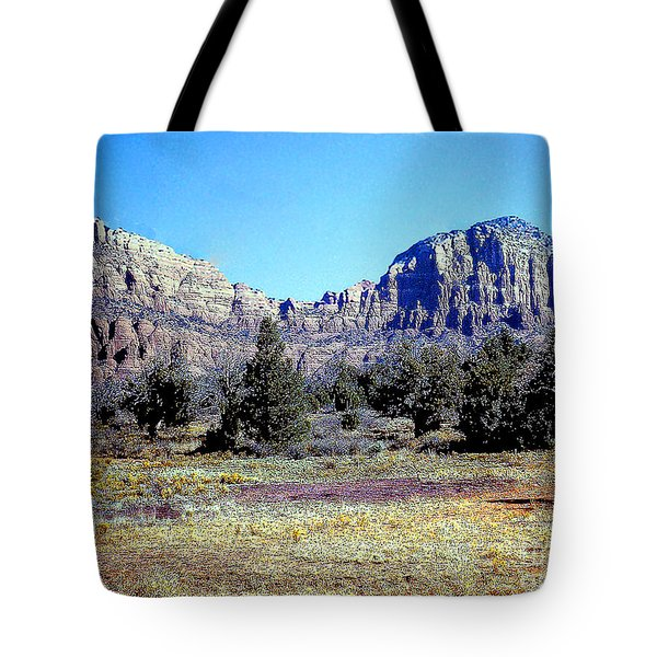 Tote Bag featuring the photograph Arizona Roadside Rock Formation by Merton Allen
