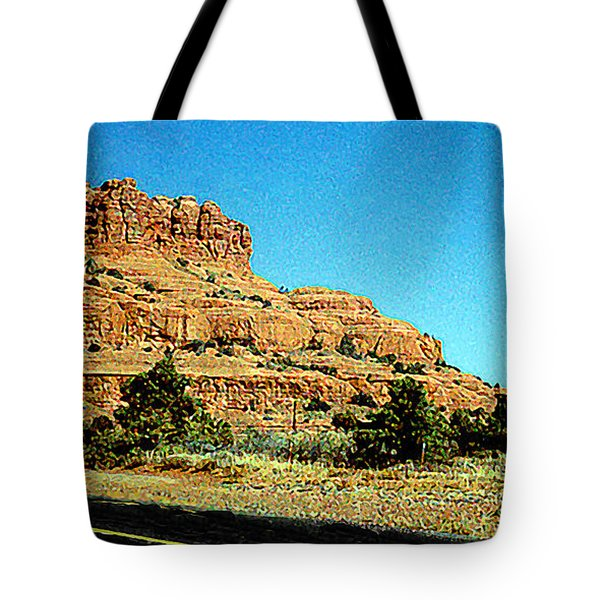 Tote Bag featuring the photograph Arizona Roadway Panorama by Merton Allen