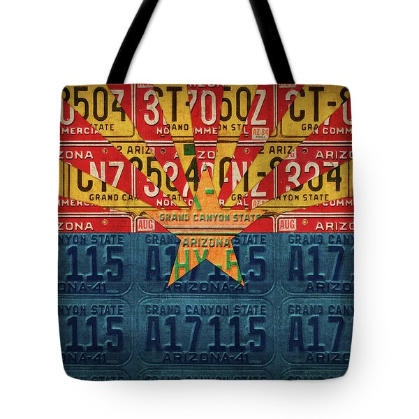 Arizona State Flag Vintage License Plate Art Tote Bag by Design Turnpike