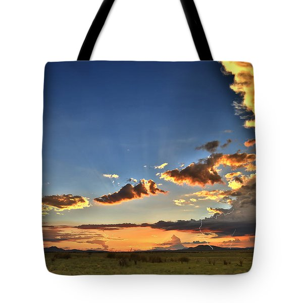 Arizona Sunset Storm Tote Bag by James Menzies