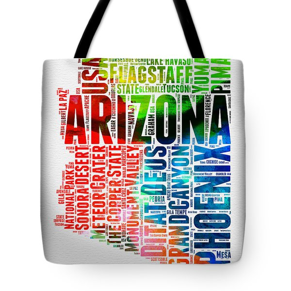 Arizona Watercolor Word Cloud Map  Tote Bag