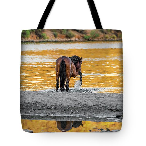 Arizona Wild Horse Playing In Water Tote Bag