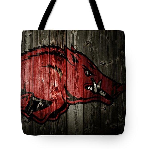 Arkansas Razorbacks 2b Tote Bag by Brian Reaves