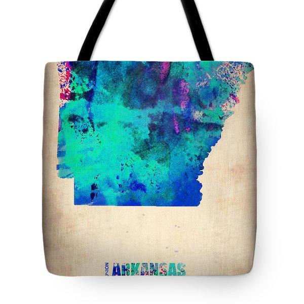 Arkansas Watercolor Map Tote Bag