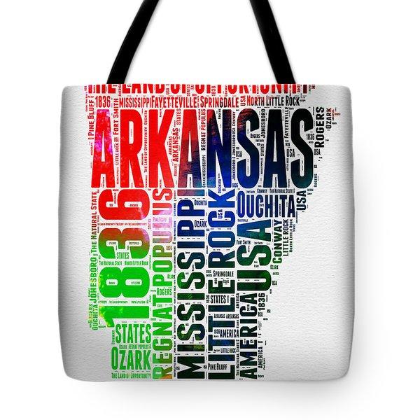 Arkansas Watercolor Word Cloud  Tote Bag