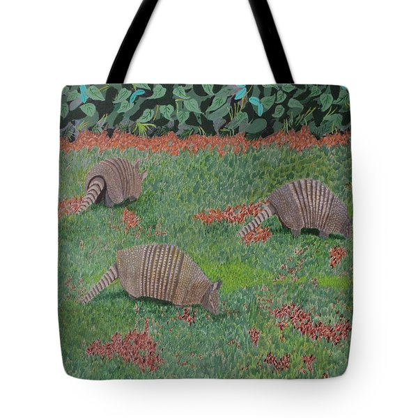 Tote Bag featuring the painting Armadillos In The Yard by Hilda and Jose Garrancho
