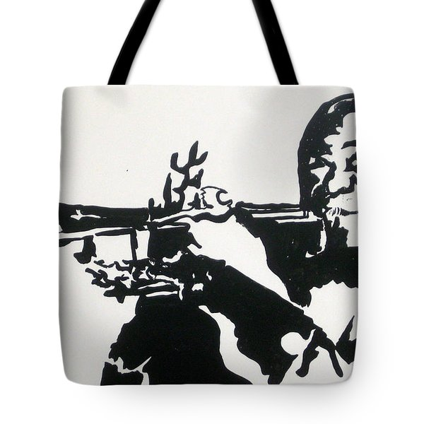 Tote Bag featuring the drawing Armstrong Feeling Happy by Robert Margetts