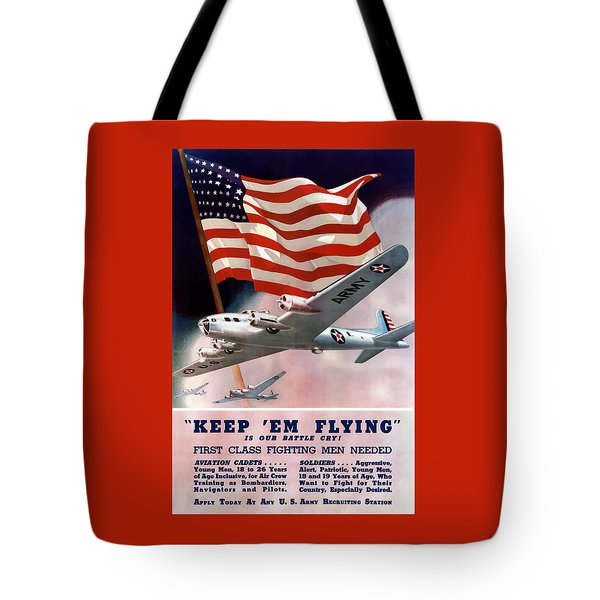 Army Air Corps Recruiting Poster Tote Bag by War Is Hell Store