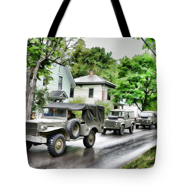 Army Jeeps On Parade Tote Bag