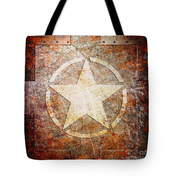 Army Star On Rust Tote Bag