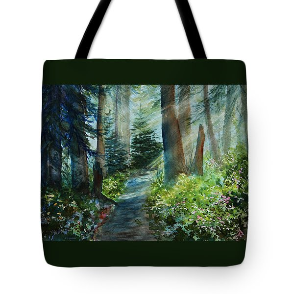 Tote Bag featuring the painting Around The Path by Kerri Ligatich