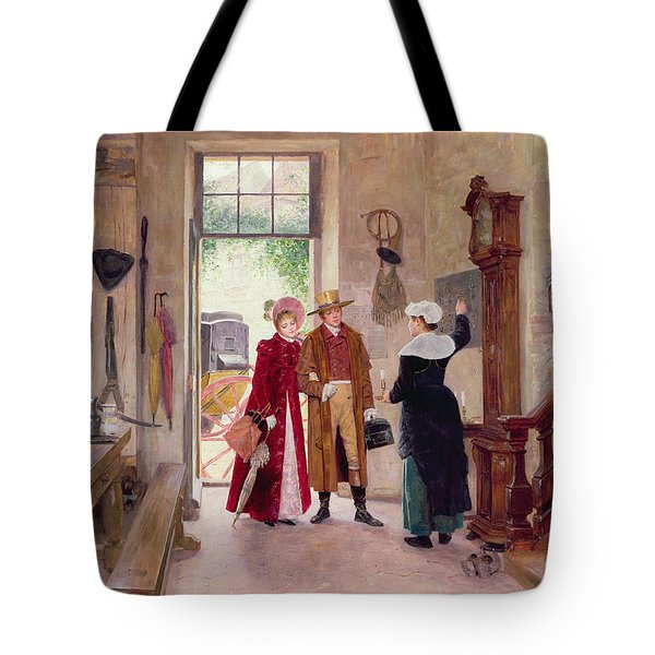 Arrival At The Inn Tote Bag by Charles Edouard Delort