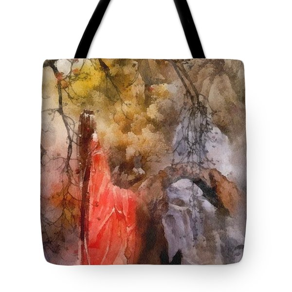 Tote Bag featuring the painting Arrival by Mo T