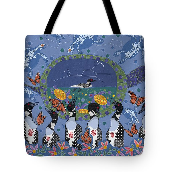 Tote Bag featuring the painting Arrival Of Wintermaker by Chholing Taha