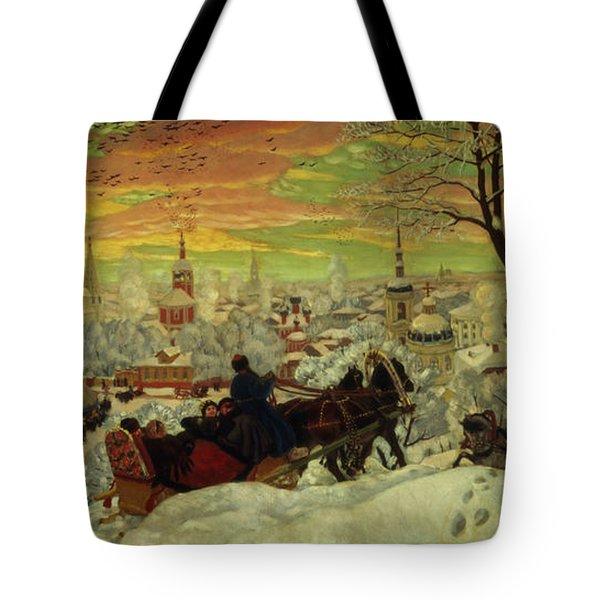 Arriving For The Holidays Tote Bag by Boris Mihajlovic Kustodiev
