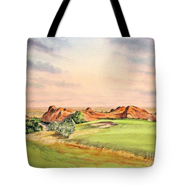 Tote Bag featuring the painting Arrowhead Golf Course Colorado Hole 3 by Bill Holkham