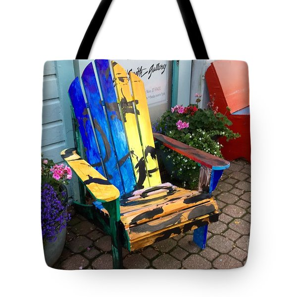 Art Adirondack Chair Boothbay Harbor Maine Tote Bag