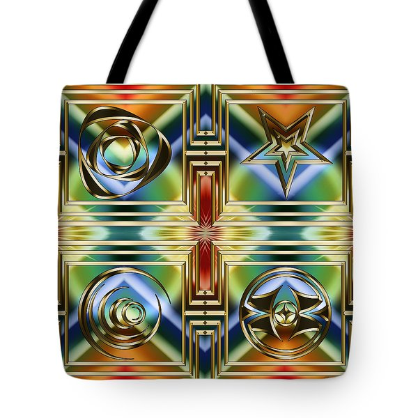 Tote Bag featuring the digital art Art Deco 4 Panel by Chuck Staley
