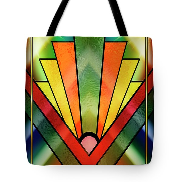 Tote Bag featuring the digital art Art Deco Chevron 2 V by Chuck Staley