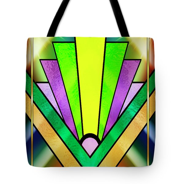 Tote Bag featuring the digital art Art Deco Chevron 3 V by Chuck Staley