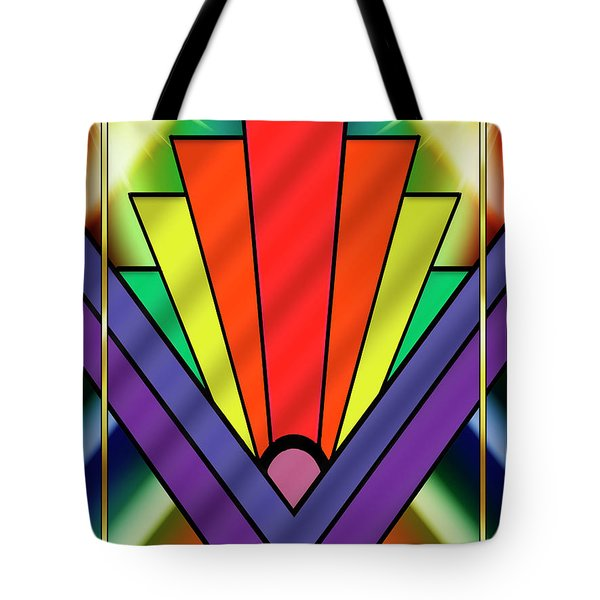 Tote Bag featuring the digital art Art Deco Chevron 1 V - Chuck Staley by Chuck Staley