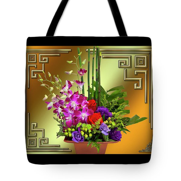 Tote Bag featuring the digital art Art Deco Floral Arrangement by Chuck Staley