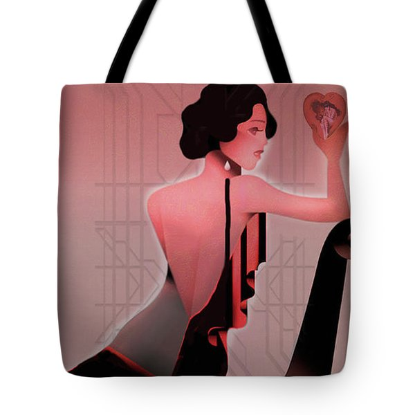 Tote Bag featuring the digital art Art Deco Valentine Greeting by Jeff Burgess