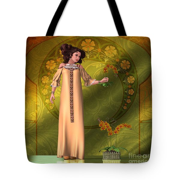 Art Nouveau Woman - Orchids Tote Bag