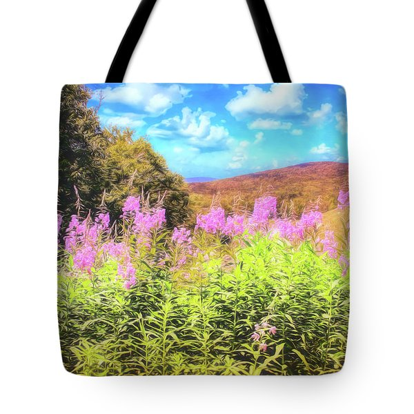Art Photo Of Vermont Rolling Hills With Pink Flowers In The Foreground Tote Bag