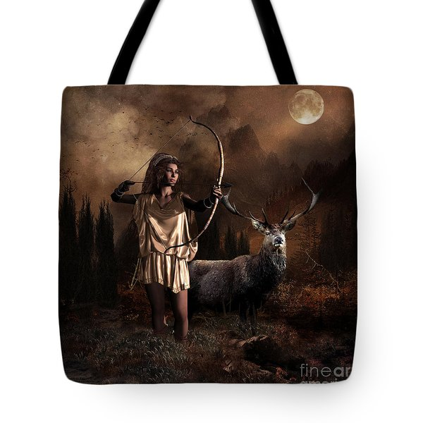 Tote Bag featuring the digital art Artemis Goddess Of The Hunt by Shanina Conway