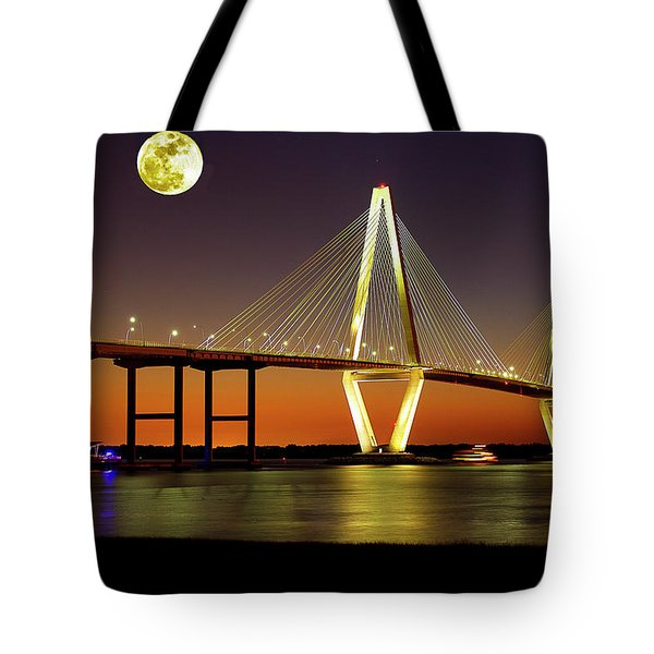 Arthur Ravenel Bridge At Night Tote Bag