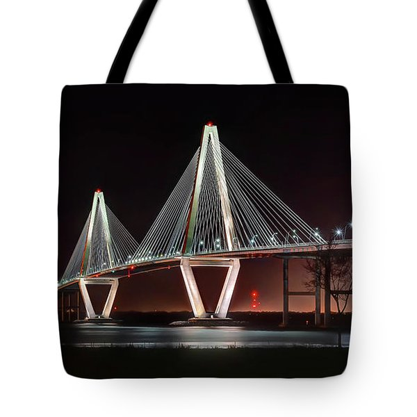 Tote Bag featuring the photograph Arthur Ravenel Jr. Bridge At Midnight by George Randy Bass