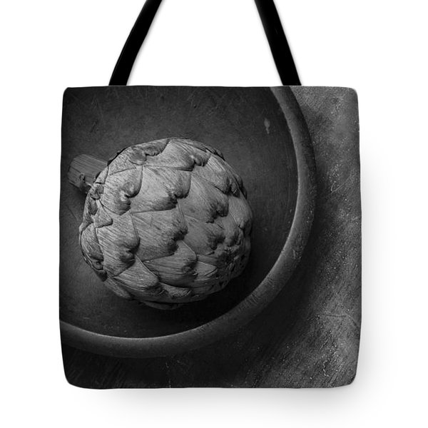 Artichoke Black And White Still Life Three Tote Bag by Edward Fielding