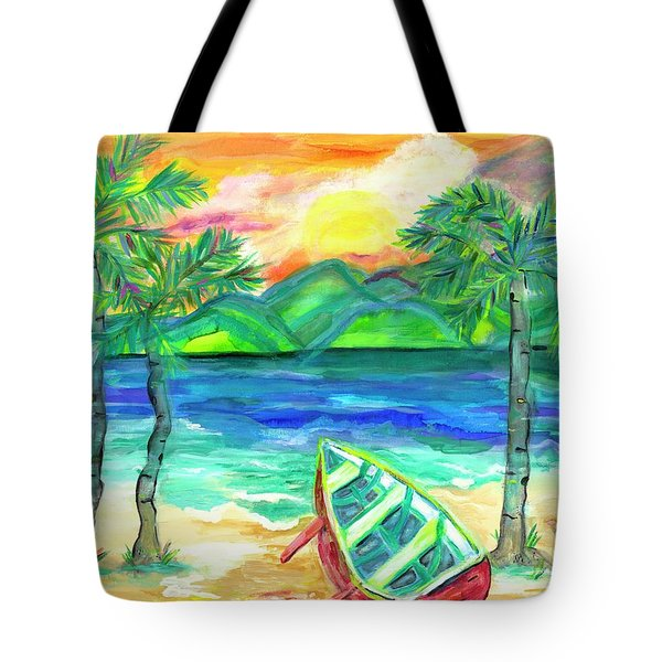 Artie The Island Dog's Red Boat  Tote Bag