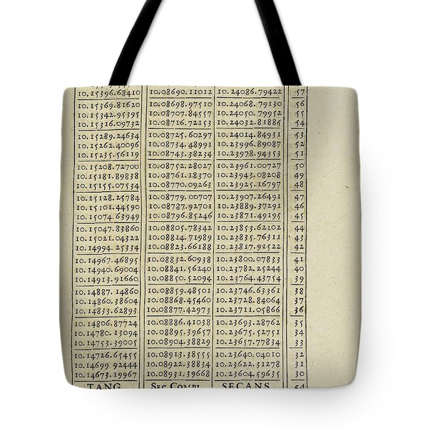 Artificial Logarithmic Tables Of The Sinuses Tote Bag