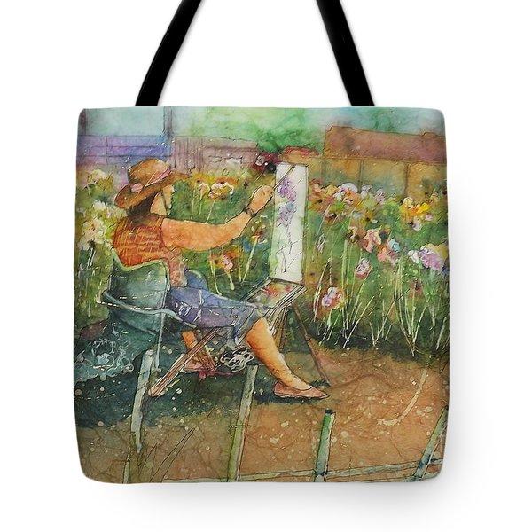Artist In The Iris Garden Tote Bag