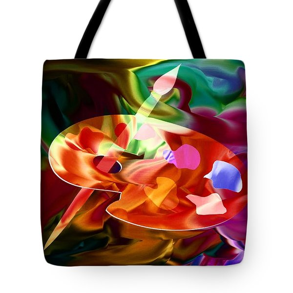 Artist Palette In Neon Colors Tote Bag by Annie Zeno