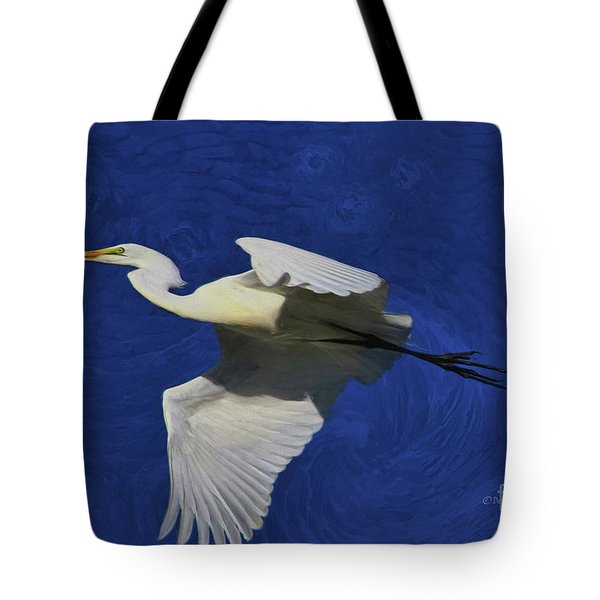 Tote Bag featuring the painting Artistic Egret by Deborah Benoit