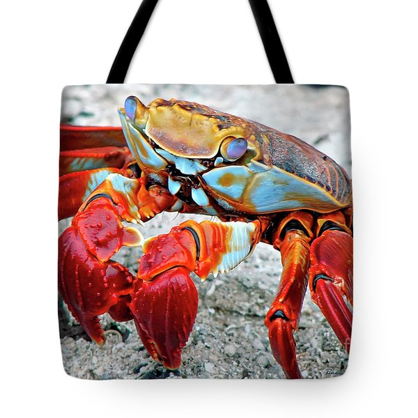 Artistic Nature Red And Blue Rainbow Crab 908 Tote Bag