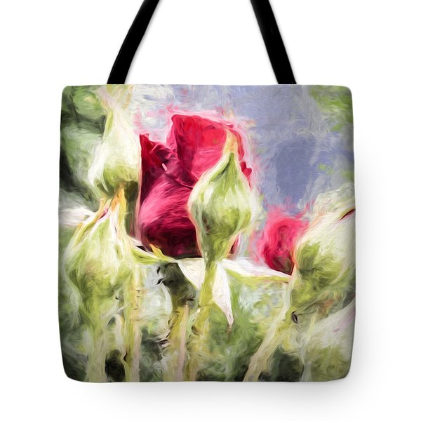 Artistic Rose And Buds Tote Bag