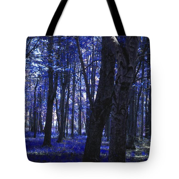 Tote Bag featuring the photograph Artistic Tree In Blue by Michelle Audas